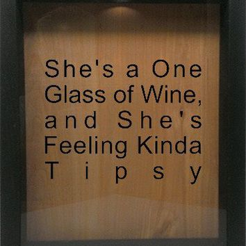 "Wooden Shadow Box Wine Cork/Bottle Cap Holder 9""x11"" - She's A One Glass Of Wine And She's"