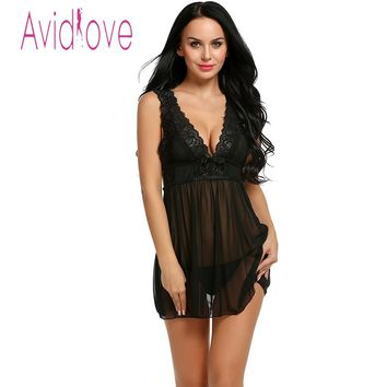 Avidlove Sexy Lingerie Hot Dress Babydoll Sleepwear Women Sexy Hollow Out Sleepwear Night Dress Plus Size Lingerie + G-String
