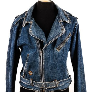 Vintage Harley Davidson Washed Denim Biker Jacket