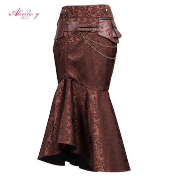 Alivila.Y Fashion Womens Vintage Steampunk Victorian Gothic Lace Party Halloween Ren Fair Cosplay Dress For Woman Knee Length