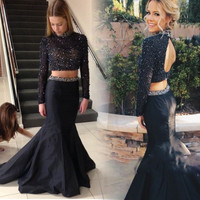 Sexy Black Mermaid 2 Piece Prom Dress 2016 New High Neck Beads Sequins Backless Long Sleeve Women Formal Party Evening Gown