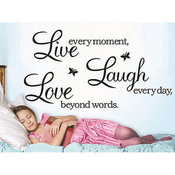 Live Laugh Love Wall Sticker - Home Kitchen Family Wall Art Quote Decal 2016 HU