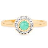 LoveHuang 0.32 Carats Genuine Sakota Emerald and White Topaz Halo Eye Ring Solid .925 Sterling Silver With 18KT Yellow Gold Plating