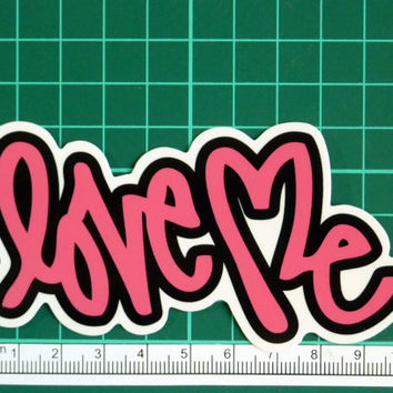 Love Me Pink Letters Graffiti Art Typography Sticker Decal