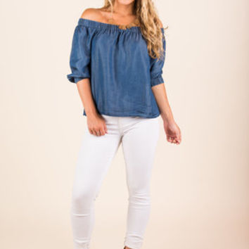 Whatever For You Top, Chambray