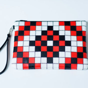 Leather Clutch, Leather Wristlet, Wristlet Clutch, Patchwork Clutch, Red Black White Bag