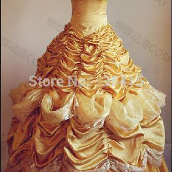 belle costume adult princess belle beauty and beast costume cosplay halloween costumes dress custom made withe free petticoat