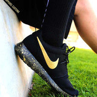 Custom Gold Nike Roshe Run Shoes Paint Splatter Design Hand Painted Personalized