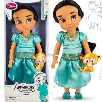 "Licensed cool Disney Store 16"" Aladdin Jasmine Rajah Animators Collection Toddler Doll Figure"
