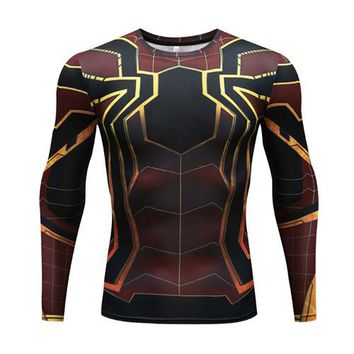 Anime T-shirt graphics Marvel Avengers Infinity War Anime Spiderman Thanos 3D Long Sleeve T Shirt Men Fitness Clothing Bodybuilding Compression Shirt AT_56_4