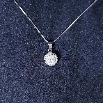 New 14k White Gold On 925 Sterling Silver Small CZ Disco Ball Pendant Free Chai
