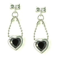 Bow Knot and Bead Chain with Bezel Heart Black CZ Drop Stud Earrings