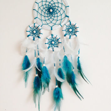 Blue Dreamcatcher, Doily Dreamcatcher, White Dreamcatcher, Handmade, Boho, Hippie, Wall Hanging, Home Decor, Talisman,  Turquoise
