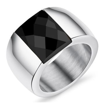 Hot Selling Heavy Gold /Silver Plated Stainless Steel Ring With Big Precious Stone Crystal Rings For Women Size 7,8,9