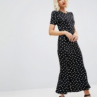 ASOS City Maxi Tea Dress In Polka Dot Print at asos.com