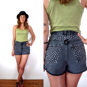 Polka Dot High Waisted Denim Shorts 28
