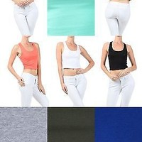 Sexy Solid Multi-Colors Sleeveless Cropped Tank Top Racerback Cami Top Shirts