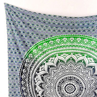 GREEN Cotton Mandala Fabric Ombre Hippie Wall Tapestry Large Psychedelic Wall Hanging Throw Mandala Bed Bedspread Bohemian Boho Bedding Art