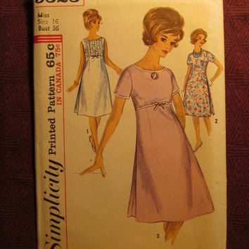Uncut 1960's Simplicity Sewing Pattern, 5323! Size 16 Bust 36 Medium/Large/Women's/Misses/Shorts Sleeve/Sleeveless A-line Dress/Empire Waist
