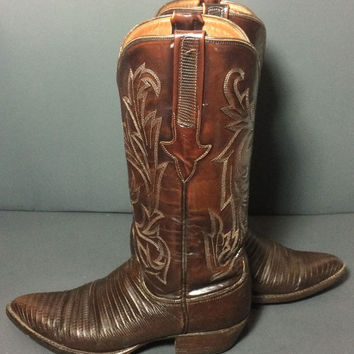Lucchese 1883 Brown Lizard Leather Western Cowgirl Cowboy Boots Women's Size 7