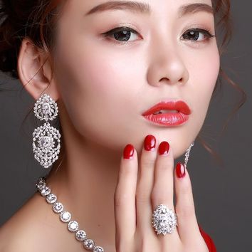 Luxury ensemble bijoux femme Bridal Accessories Jewelry sets for Women taki seti High quality Big size Wedding ring earring