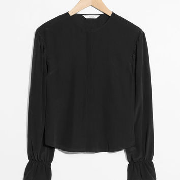 Dropped Shoulder Silk Blouse - Black - Blouses - & Other Stories US