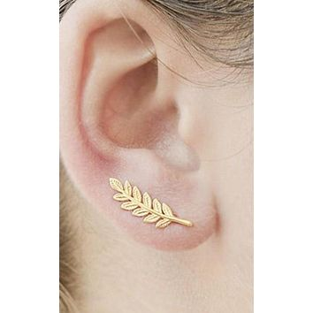 Yellow Gold or Silver Leaf Stud Earrings