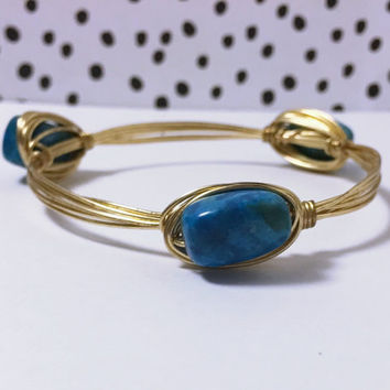 Turquoise Stone Gold Wire Bangle Bracelet