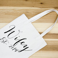 Wifey Est 2014 canvas Tote - Cotton Canvas Tote Bag - Market bag -Farmers Market bag - welcome bag - wedding gift - celebration - gift bag