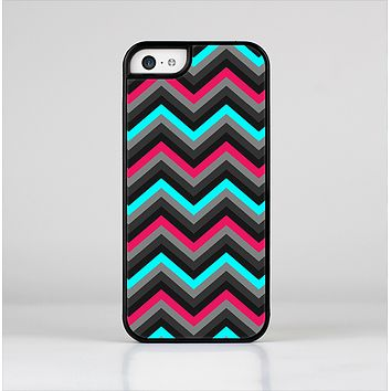 The Sharp Pink & Teal Chevron Pattern Skin-Sert Case for the Apple iPhone 5c