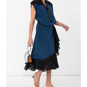 Givenchy Ruffle Trim Wrap Dress - Black Cap Sleeves Dress