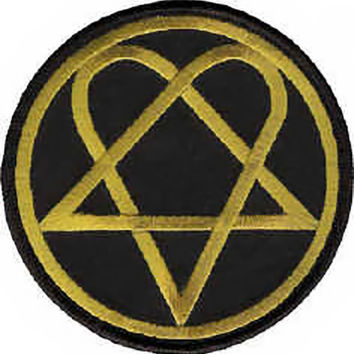 HIM Iron-On Patch Round Gold Heartagram Logo