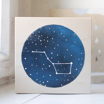 Hand painted CD/DVD case, wooden box, wood case, decorative box, trinket box, keepsake box, recipe box, constellation, heaven, big dipper