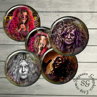 Janis Joplin - Digital Collage Sheets sg461 - 1.5, 1.0 inch Circles - Pendants, Bottle Caps, Jewelry Supplies, Arts & Crafts