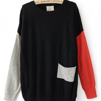 Color Block Round Neck Black Sweater$46.00