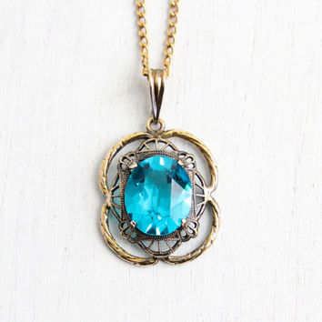 Vintage Art Deco Teal Stone Necklace - 1930s 1/20 10k Gold Filled & Sterling Silver Filigree Hallmarked AMCO Aqua Blue Necklace Jewelry