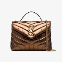 metallic bronze lou lou quilted leather shoulder bag