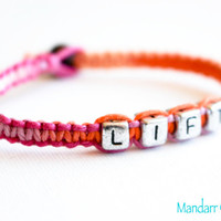 Sherbert Lift Bracelet, Pink and Orange, Handmade Fitness Motivation Jewelry, Weight Lifting Goals, Hand Knotted Hemp