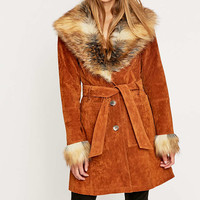 Pins & Needles Faux-Fur Belted Suede Jacket - Urban Outfitters