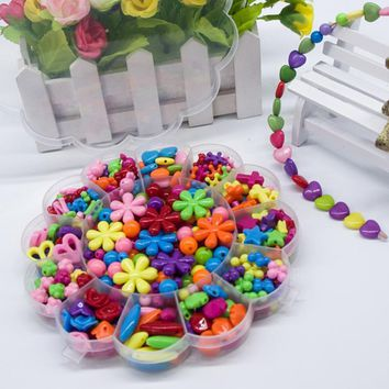 350pcs Kids Beads Sets Jewelry Making Accessories Girl Baby Mix Loom Bands Box Hama Beads Toy