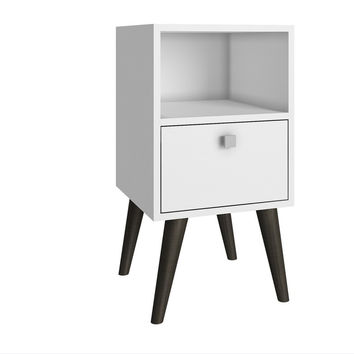 Abisko Side Table White and Grey Feet