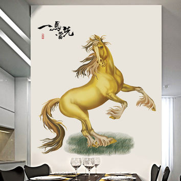 New golden horse sitting room bedroom home decoration wall stickers on the wall SM6