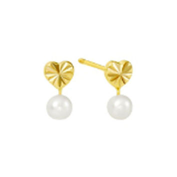 Pearl Stud Earrings 10k Yellow Gold Heart Laser Cut Screwbacks