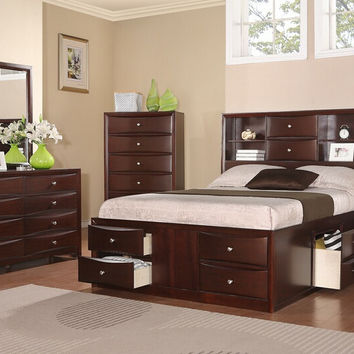 Poundex F9234Q-4PC 4 pc Nathaniel II espresso finish wood captains bed with drawers queen bed set