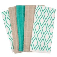 Assorted 5-Pack Diamond Print and Solid Kitchen Towels
