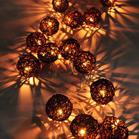 20 BROWN RATTAN BALL STRING HOME,INDOOR,BEDROOM,DECOR,CHRISTMAS,WEDDING LIGHTS