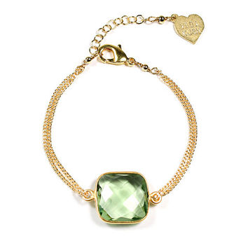 Gold Cushion Cut Gemstone Bracelet