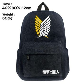 Cool Attack on Titan  School Backpack Student Bookbag no  Boys Girls Black Shoulder Laptop Travel Bags Casual Bags Gift AT_90_11