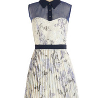 Pink Martini Mid-length Sleeveless A-line Prance in a Blue Moon Dress