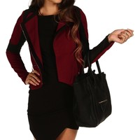 Burgundy Mesh Casual Jacket